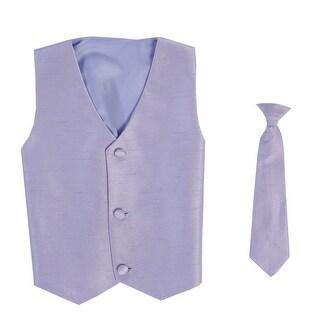 Baby Boys Lilac Poly Silk Vest Necktie Special Occasion Set 3-24M - 3-12m