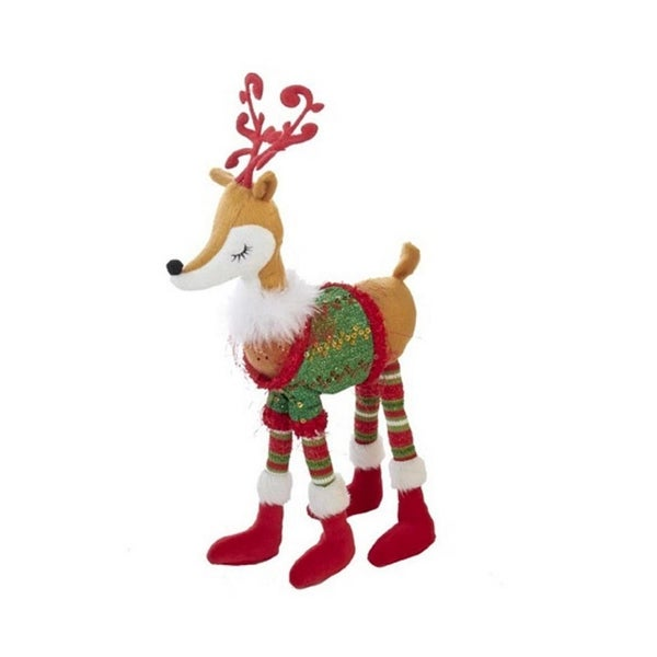 """18"""" Girl Reindeer With Christmas Sweater Decorative Table Piece - green"""