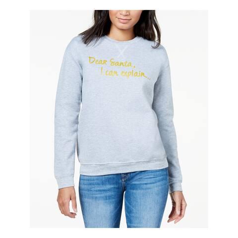 KID-DANGEROUS Womens Gold Long Sleeve Crew Neck Tunic Sweater Size L