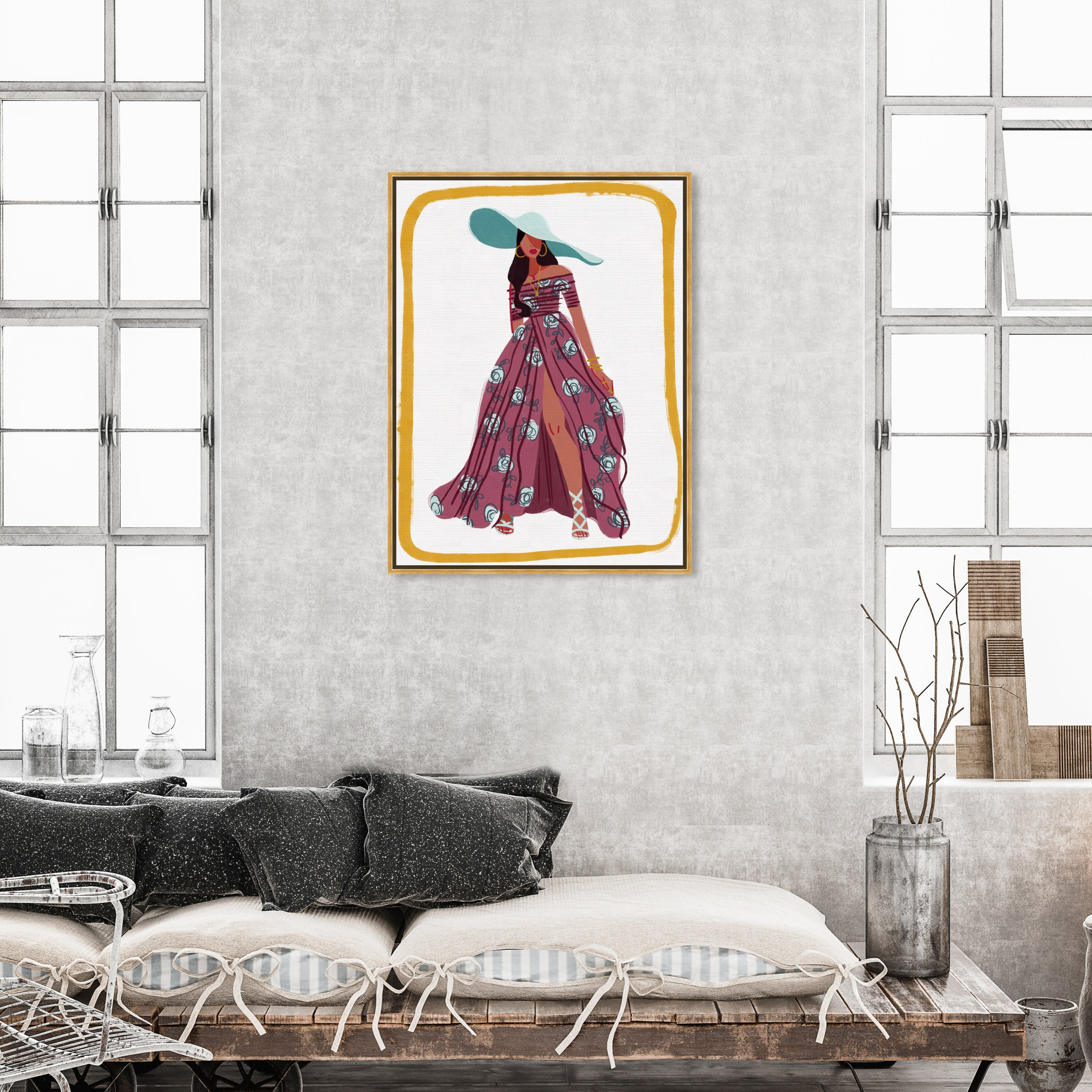 Oliver Gal Boho Floral Sun Fashion And Glam Wall Art Framed Canvas Print Dress Pink White Overstock 32481448