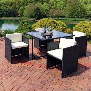 Miliani 5-Piece Outdoor Dining Patio Furniture Set w/ Black Wicker/Gray Cushions