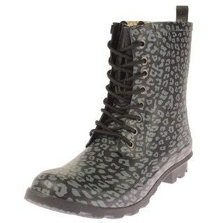 Chooka Womens Rain Boots Leopard Combat - 10 medium (b,m)