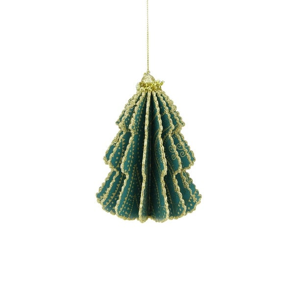 """Bohemian Holiday Teal Green Triangular and Polka Dotted Strands Print Gold Glittered Sliced Tree Finial Ornament 6"""""""