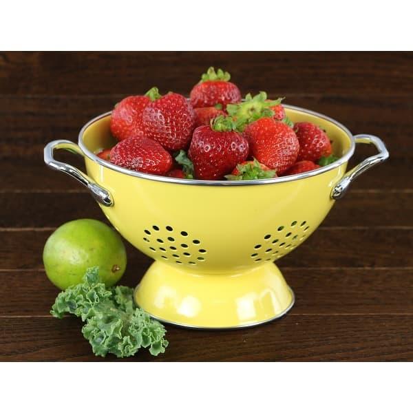 5 Quart Calypso Basics by Reston Lloyd Powder Coated Enameled Colander Lemon