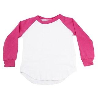 Unisex Baby Hot Pink Two Tone Long Sleeve Raglan Baseball T-Shirt 6-12M