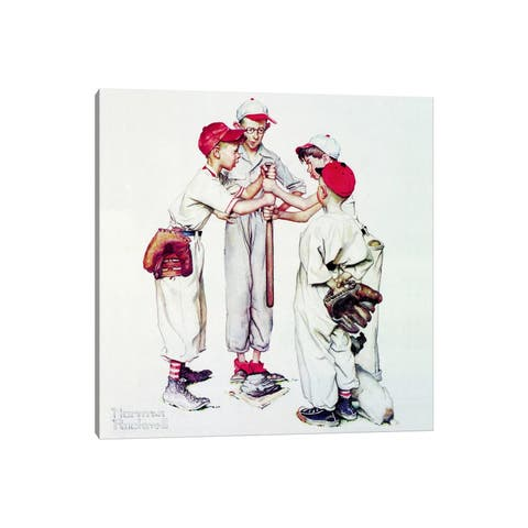 """iCanvas """"Choosing up (Four Sporting Boys - Baseball)"""" by Norman Rockwell Canvas Print"""