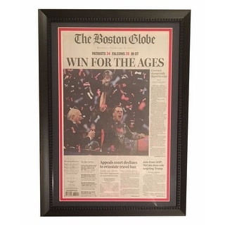 Tom Brady New England Patriots Football Super Bowl 51 LI Boston Globe Framed Newspaper Win For the