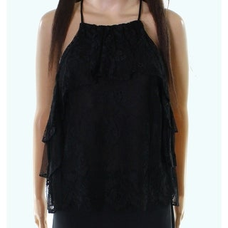 Bardot NEW Black Women's Size 8 Floral Lace Tiered Tank Cami Top