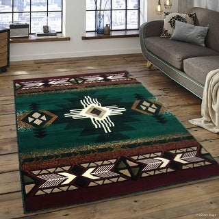 """Allstar Green Woven High Quality High Density Double Shot Drop-Stitch Carving (5' 2"""" x 7' 2"""")"""