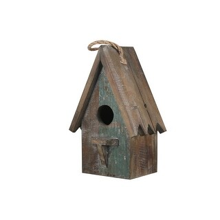 Link to Wooden Bird House with Saw tooth Edge Design on Roof, Brown Similar Items in Accent Pieces