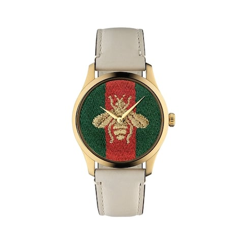 Gucci Men's 38mm Signature Bee Watch w/ Leather Strap - N/A