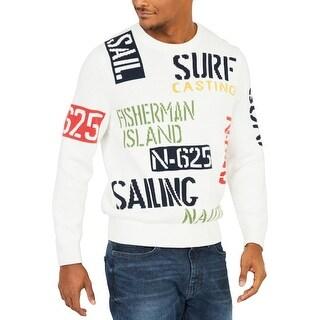 Nautica Mens Sail & Surf Crewneck Sweater Graphic Ribbed Trim