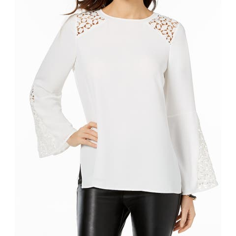 Kasper White Ivory Womens Size XL Bell-Sleeve Floral-Lace Blouse