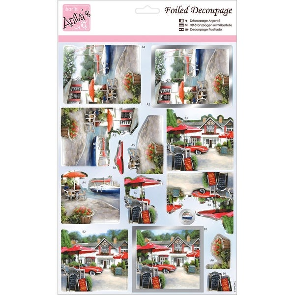 Anita's A4 Foiled Decoupage Sheet-Riverside Pub
