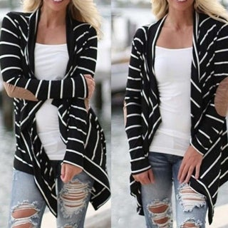 Women Black and White Striped Long Cardigan Loose Jacket