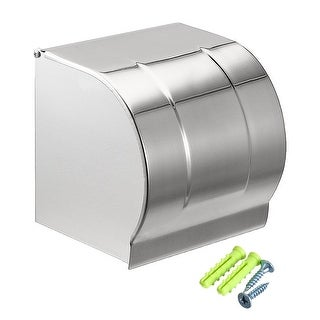 120mmx118mmx125mm Stainless Steel Wall-Mounted Toilet Paper Holder w Cover