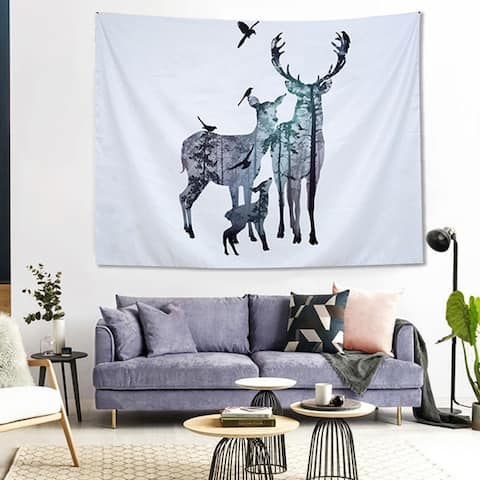 Animal Deer Tapestry Wall Hanging, Home Decor Wall Tapestry Wall Art for Bedroom Living Room Collage Dorm, 51x59 inches