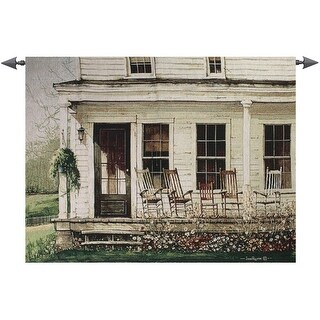 """Back Porch Gathering Rocking Chair Cotton Tapestry Wall Art Hanging 35"""" x 53"""""""