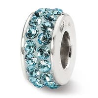 Sterling Silver Reflections March Double Row Swarovski Elements Bead (4mm Diameter Hole)