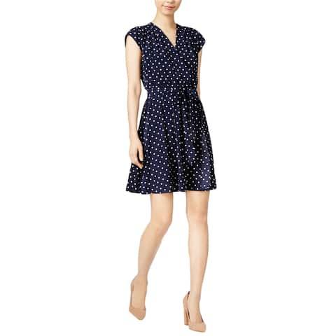 maison Jules Womens Wrap Shift Dress, Blue, Small