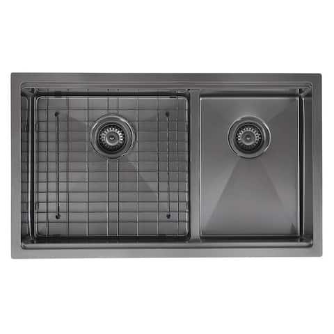 Ancona 32 in. 60/40 Double Bowl Undermount Kitchen Sink