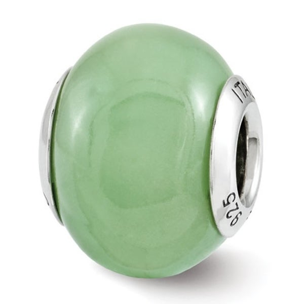 Italian Sterling Silver Reflections Green Glow-in-the-Dark Bead (4mm Diameter Hole)
