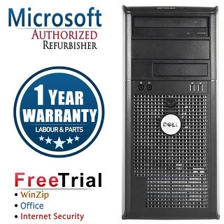 Refurbished Dell OptiPlex 760 Tower Intel Core 2 Duo E7600 3.0G 4G DDR2 160G DVD Win 10 Home 1 Year Warranty - Silver