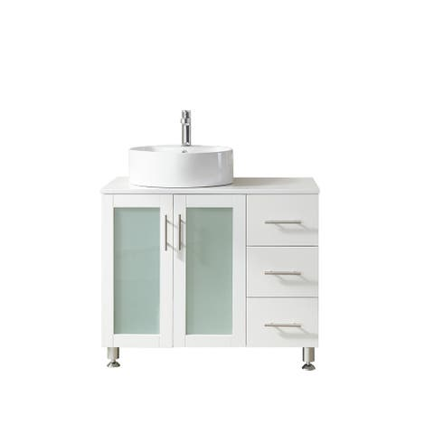 """Pesaro 36L"""" Vanity in White with Stone Top with Vessel Sink,No Mirror"""