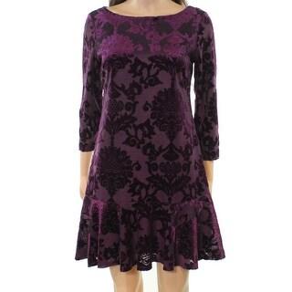 Vince Camuto Purple Womens Size 8 Velvet Drop-Waist Sheath Dress