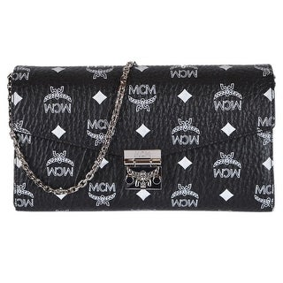 MCM Black White Coated Canvas Visetos MILLIE Crossbody Purse Bag - Black/White