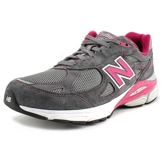 New Balance W990 Women D Round Toe Suede Gray Running Shoe