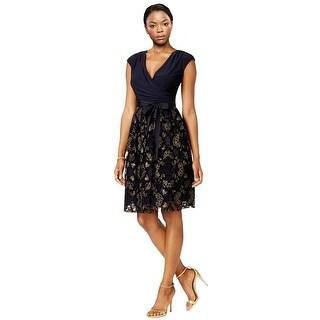 SLNY Fashions Plus Size Surplice Glitter Embellished Dress Navy/Gold