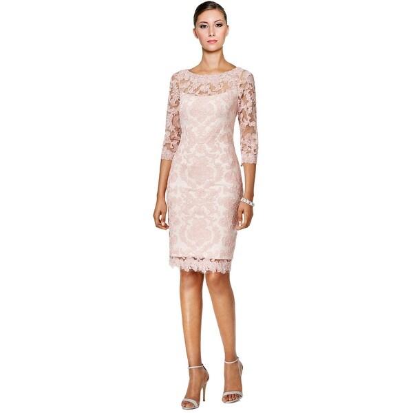 79158e15114 Shop Tadashi Shoji Lace 3 4 Sleeve Sheath Cocktail Dress - 6 - Free  Shipping Today - Overstock - 20028271