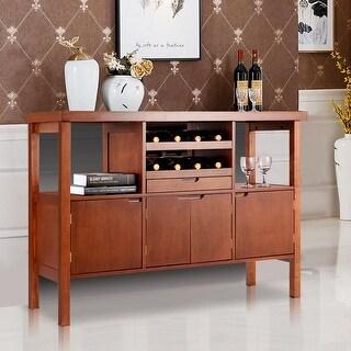 Costway Brown Wooden Buffet Server Table Storage Cabinet Sideboard Dining W/Wine Rack