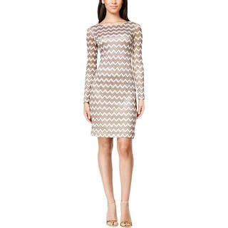 Jessica Howard Womens Petites Cocktail Dress Metallic Lace