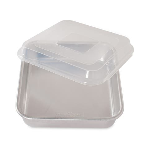 "Nordic Ware Natural Aluminum Commercial Square Cake Pan with Lid, 9.88"" x 9.88"""