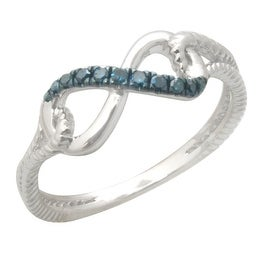 Stylist 0.08Ct Round Brilliant Cut Real Blue Color Diamond Fancy Ring