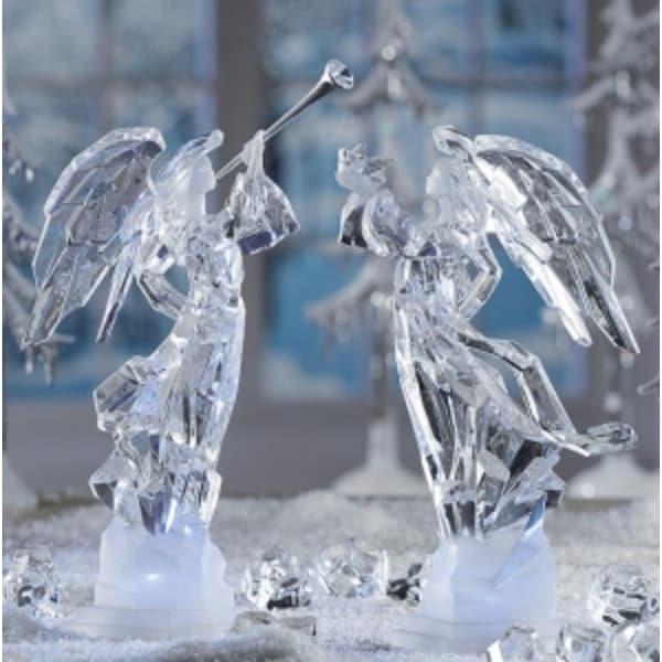"Pack of 2 Icy Crystal Illuminated Angel Ice Sculpture Figurines 11"""