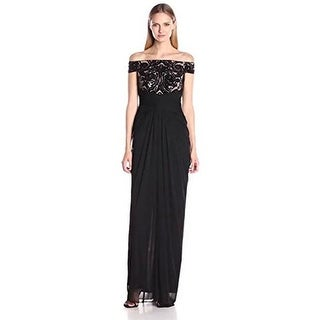 Adrianna Papell Women's Off the Shoulder Embroidered Sequin and Tulle Gown
