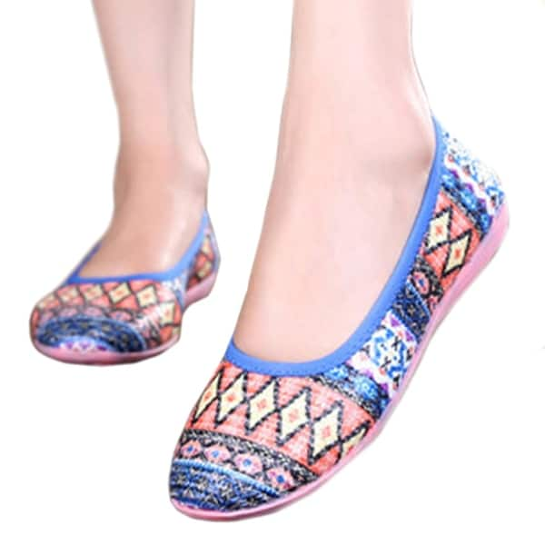 Weaved Soft Sole Rubber Women Thin Shoes blue 35