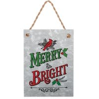 """7.5"""" Red and Green """"Merry and Bright"""" with Cardinal Christmas Tree Ornament - silver"""