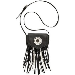 Sam Edleman Ariana Womens Fringe and Beaded Crossbody Handbag Black