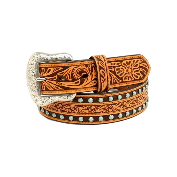 Nocona Western Belt Mens Stones Floral Leather Tan Black