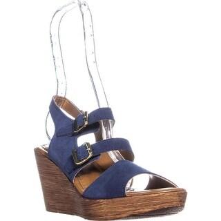 Bella Vita Ani-Italy Double Buckle Peep Toe Wedge Sandals, Navy Suede - 8 us
