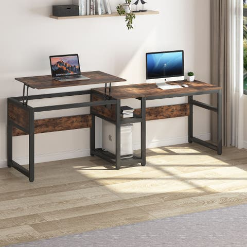 78.8 inch Double Computer Desk with Lift Top, Height Adjustable Two Person Desk
