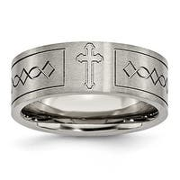Chisel Flat Brushed Titanium Ring with Cross Design (8.0 mm)