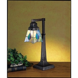 Meyda Tiffany 27637 Stained Glass / Tiffany Accent Desk Lamp from the Mackintosh Bungalow Collection - tiffany glass