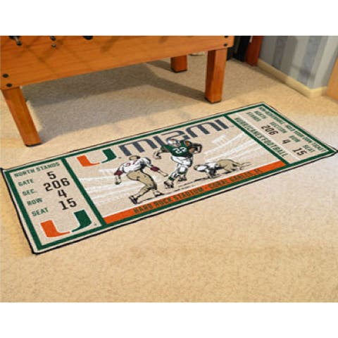 NCAA University of Miami Hurricanes Ticket Non-Skid Mat Area Rug Runner