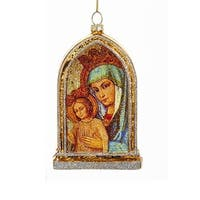 "5"" Holy Family Mary and Jesus Religious Hanging Glass Christmas Ornament - Gold"