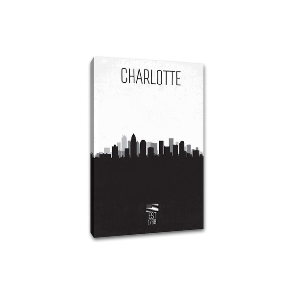 Charlotte - Distressed Skyline Art - 24x36 Gallery Wrapped Canvas Wall Art B&W